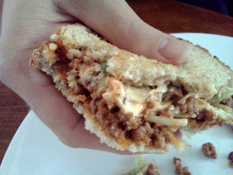 Chick Salad Spag Sandwhich Is There